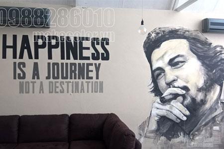 Vẽ tranh tường về Guevara quán cafe