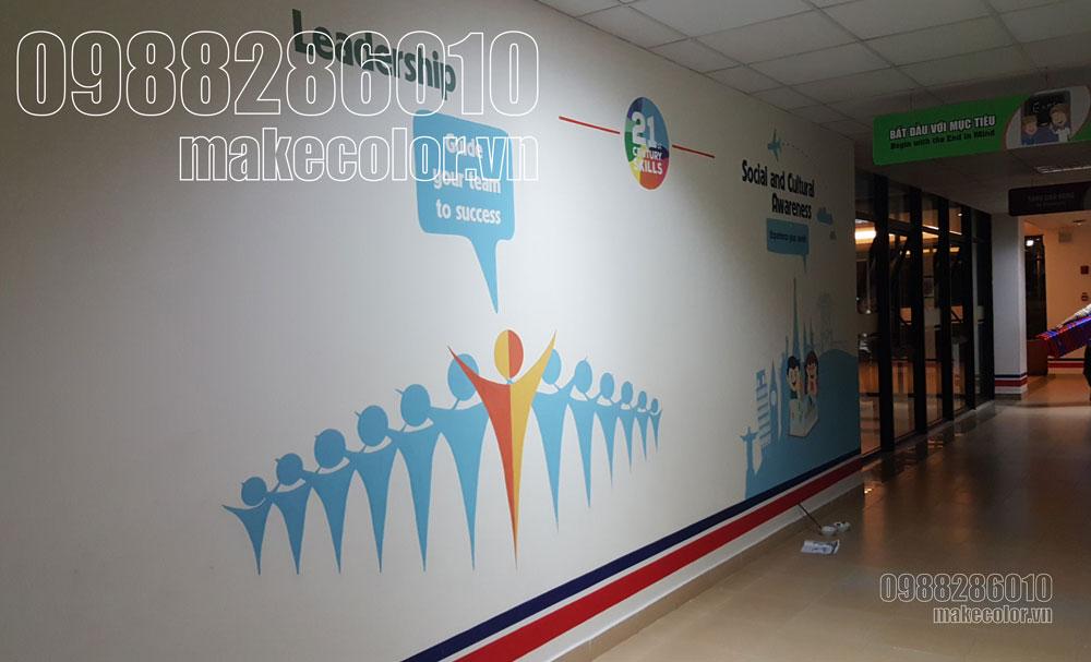 Vẽ tranh tường trường quốc tế Vinschool