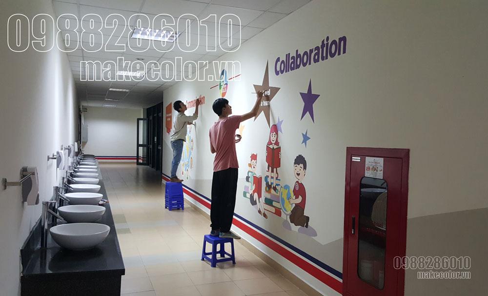 Vẽ tranh tường trường quốc tế Vinschool - Vẽ tranh tường phòng rửa tay
