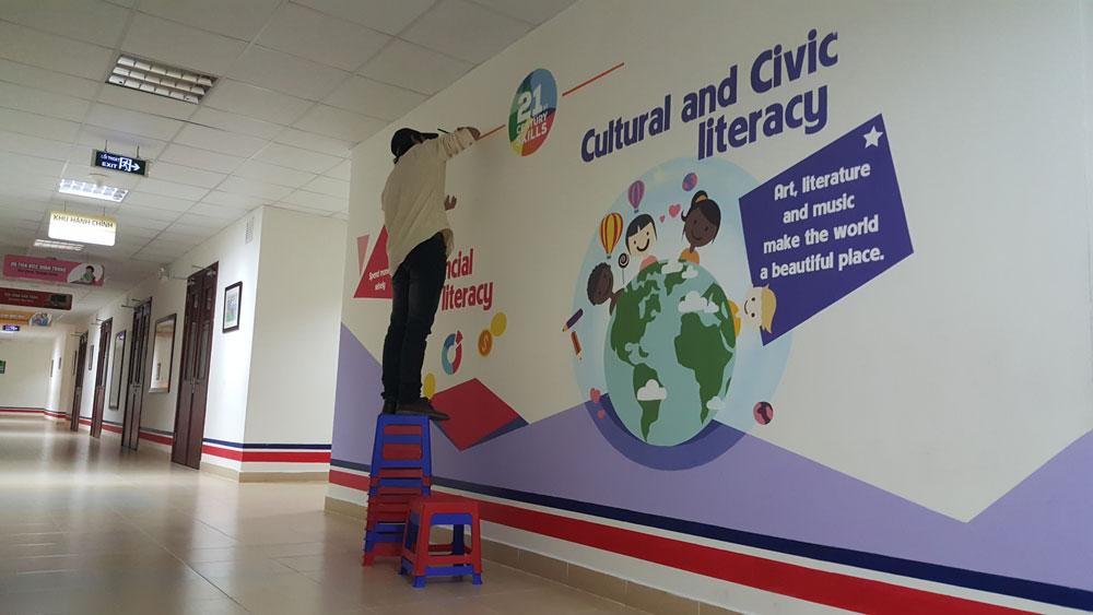 Vẽ tranh tường trường quốc tế Vinschool - Vẽ tranh tường hành lang phòng học