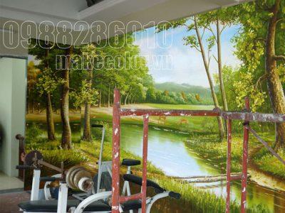 Vẽ tranh tường phòng tập chị Hương - Đống Đa - Hà Nội