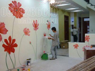 Vẽ tranh tường nhà chị Quyên - Móng Cái