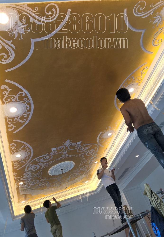 Vẽ tranh tường biệt thự ở Vincom Long Biên