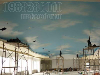 Vẽ tranh tường nhà hàng tiệc cưới Hồng Ân - 10/2012