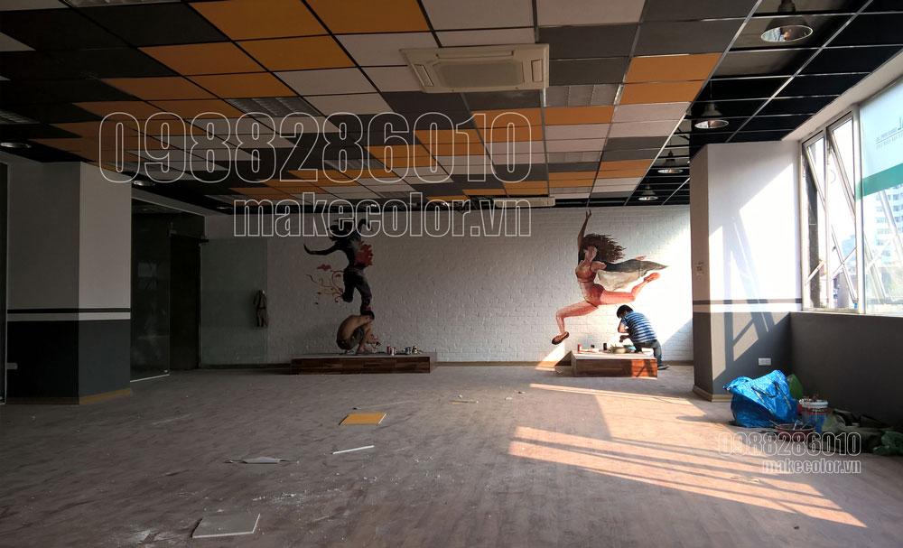 Vẽ tranh tường phòng tập Gym Yoga Boxing