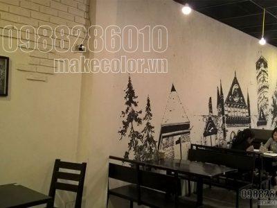 Vẽ tranh tường quán ăn anh Đạt - Chùa Láng
