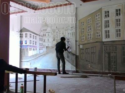 Vẽ tranh tường quán cafe Vân Đồn - Quảng Ninh