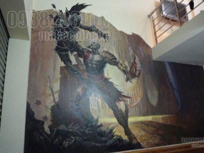 Vẽ tranh tường quán PS3 - Toàn Bách Khoa