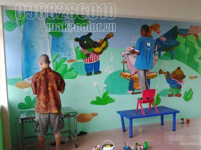 Vẽ tranh tường trường mầm non Yên Sở - Hoài Đức - HN