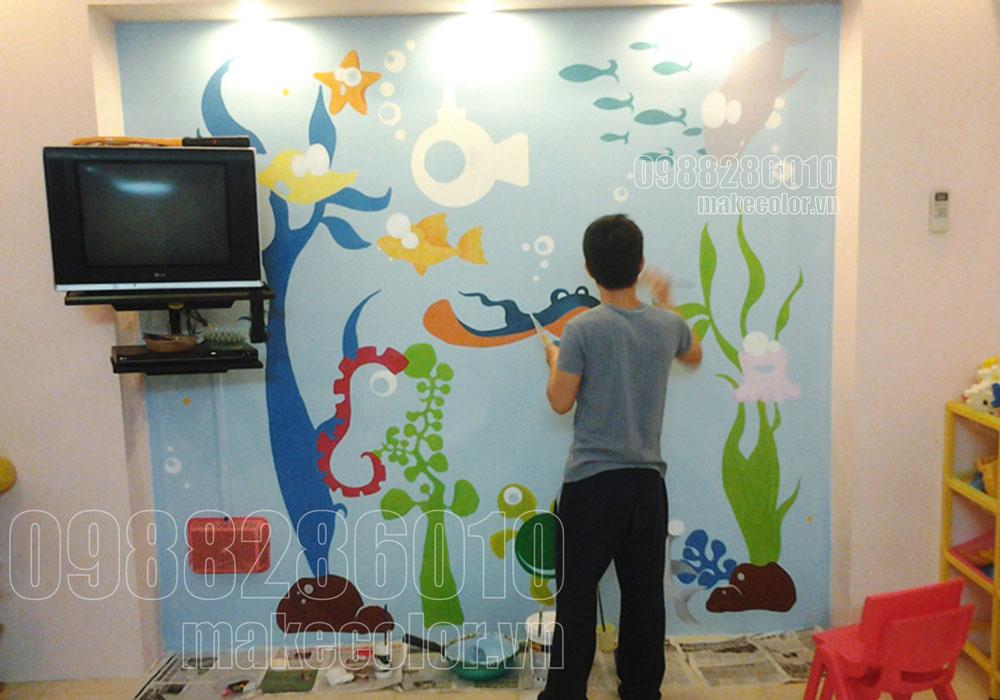 Vẽ tranh tường trường mầm non Hướng Dương - Định Công