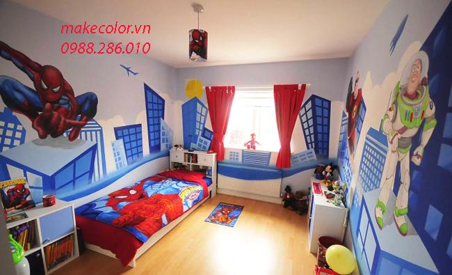 Vẽ tranh tường phòng ngủ bé trai giá rẻ nhất 2020