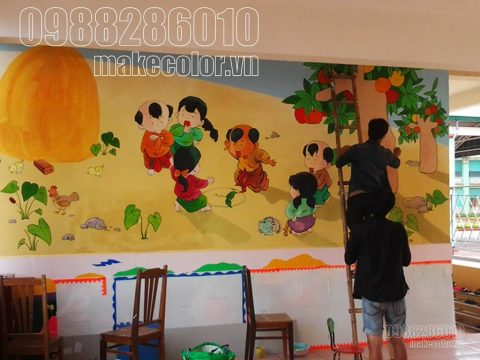 Vẽ tranh tường phòng học các trường mầm non giá rẻ tại Hà Nội
