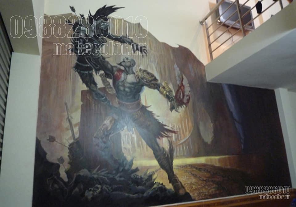 Vẽ tranh tường 3D quán Game Hà Nội