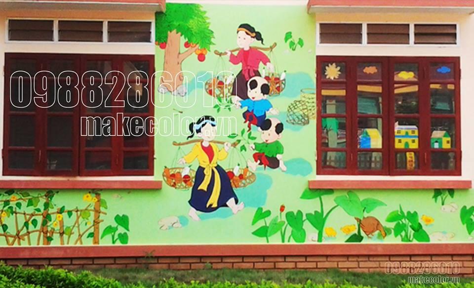 Vẽ tranh tường các trường mầm non giá rẻ.