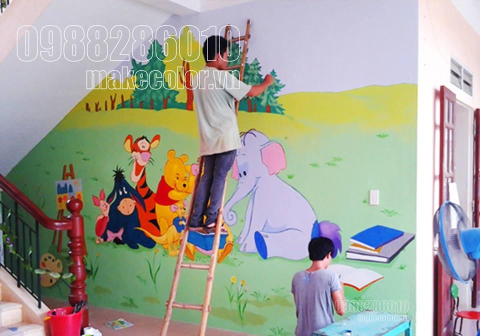 10 Bức vẽ tranh tường mầm non ấn tượng nhất