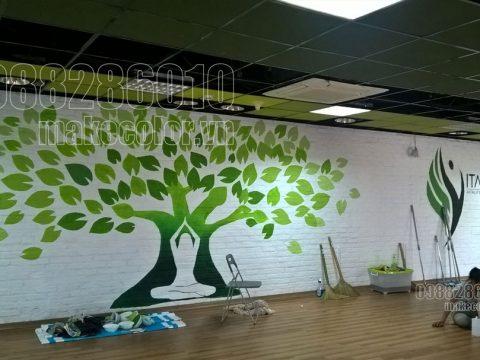 Vẽ tranh tường phòng tập gym, phòng tập yoga giá tốt nhất hiện nay
