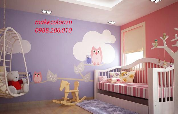 Vẽ tranh tường trang trí phòng ngủ cho bé