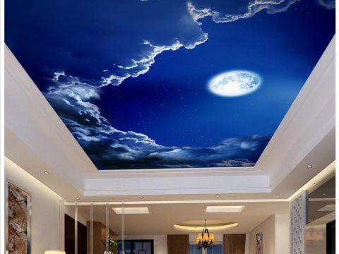 Vẽ tranh tường trần nhà phòng khách chủ đề trời mây