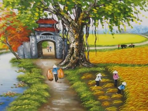 Vẽ tranh tường chủ đề phong cảnh làng quê Việt Nam