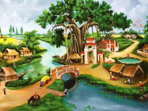 Nghệ thuật vẽ tranh tường phong cảnh làng quê Việt Nam