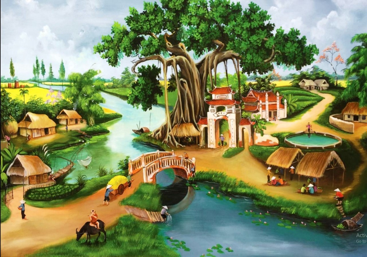 Vẽ tranh tường phong cảnh làng quê