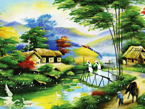 Các chủ đề vẽ tranh tường phong cảnh làng quê Việt Nam hiện nay