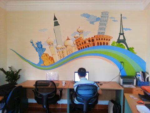 Vẽ tranh tường phòng làm việc giá rẻ nhất tại Hà Nội