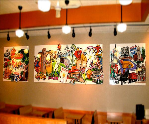 Vẽ tranh tường nhà hàng, quán ăn giá rẻ.