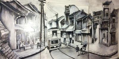 Vẽ tranh tường phố cổ Hà Nội cho quán cafe đẹp nhất hiện nay