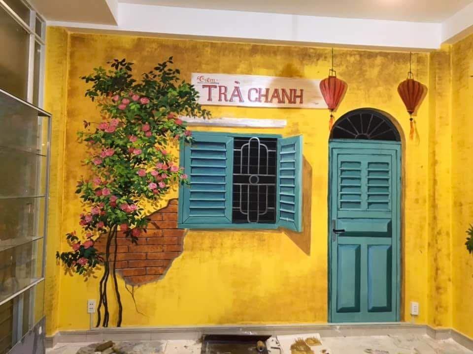 Nghệ thuật vẽ tranh tường quán Cafe, trà chanh