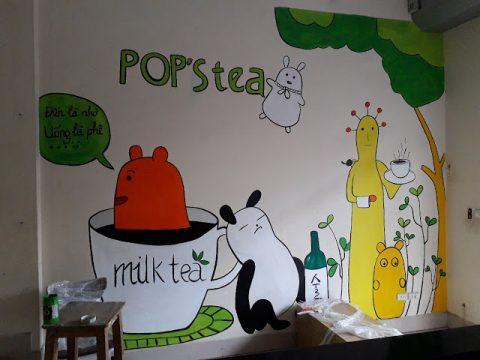 Dịch vụ vẽ tranh tường quán trà sữa giá 40k/1m2 mẫu đẹp, giá rẻ nhất