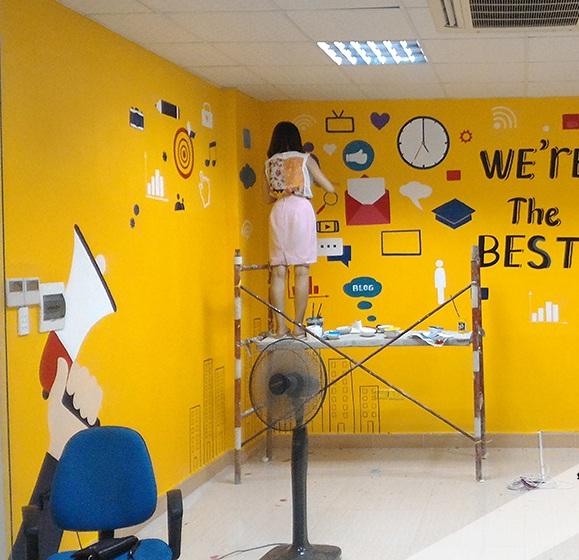 Vẽ tranh tường phòng làm việc giá rẻ