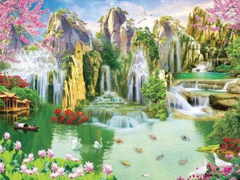Vẽ tranh tường phong cảnh sơn thủy phòng khách đẹp, giá rẻ tại Hà Nội