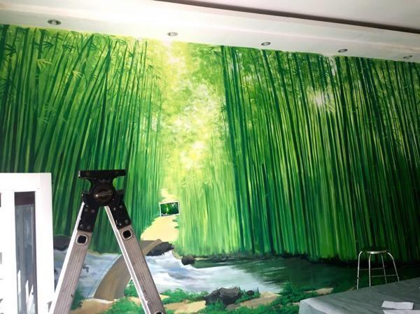 Phong thủy vẽ tranh tường phòng khách năm 2021