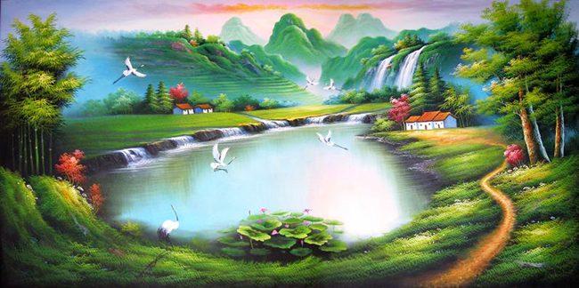 Vẽ tranh tường phòng khách sơn thủy hữu tình