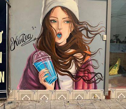 Nghệ thuật vẽ tranh tường quán Cafe, trà sữa, trà chanh đẹp, lạ và độc đáo