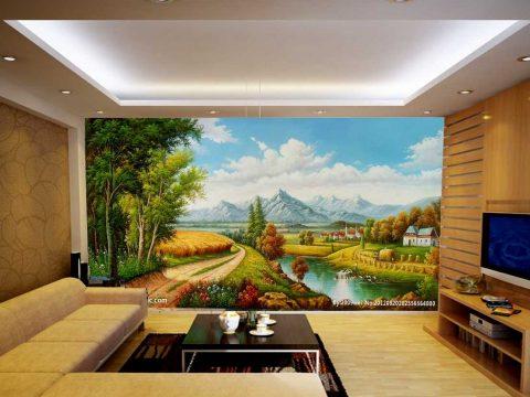 Vẽ tranh tường phòng khách chỉ từ 43k/1m2
