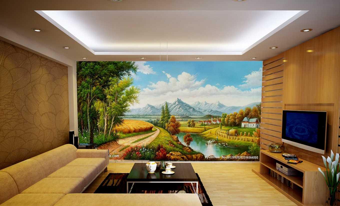 vẽ tranh tường phòng khách theo tuổi